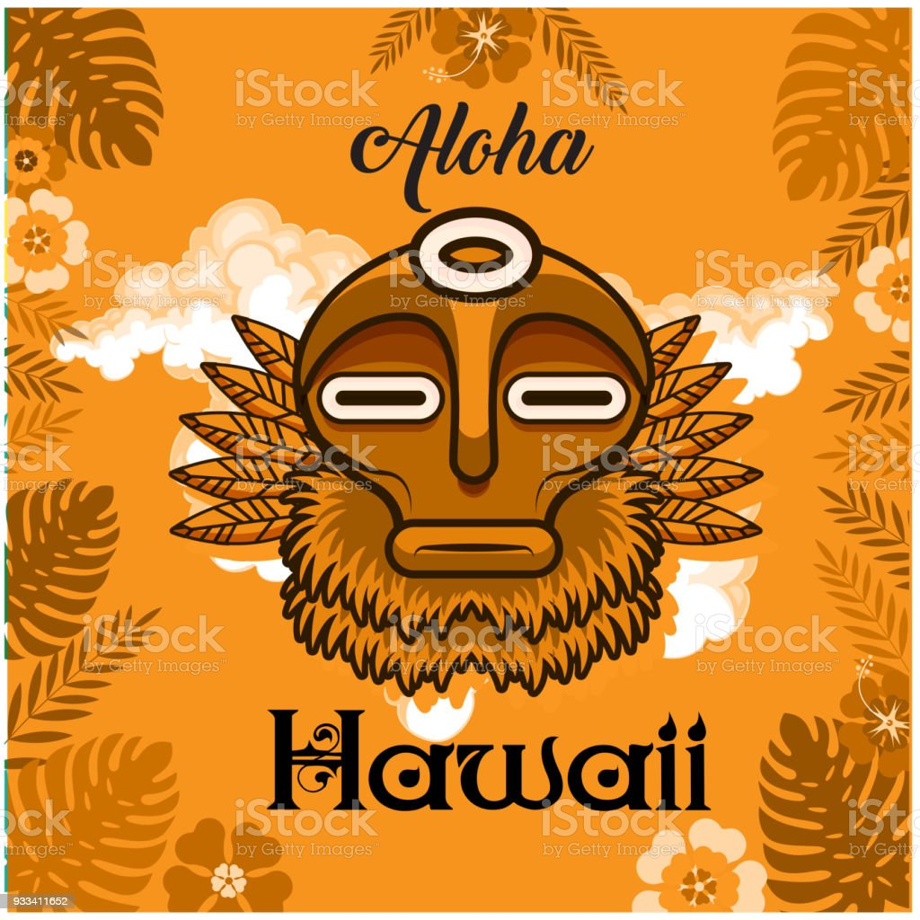 Aloha Hawaii Tribal Mask Leaves Background Vector Image Royalty Free