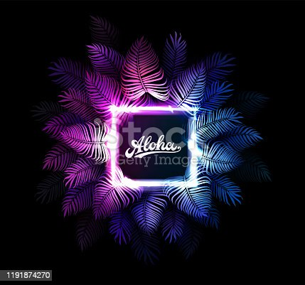 Aloha Hawaii vector background. Dark tropical summer party design with palm leaves, neon rectangle, aloha text. Hawaiian party. Exotic cyberpunk illustration for beach nightclub or dance club