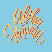 Aloha Hawaiian handmade lettering. Vintage textured hand crafted ink drawing.