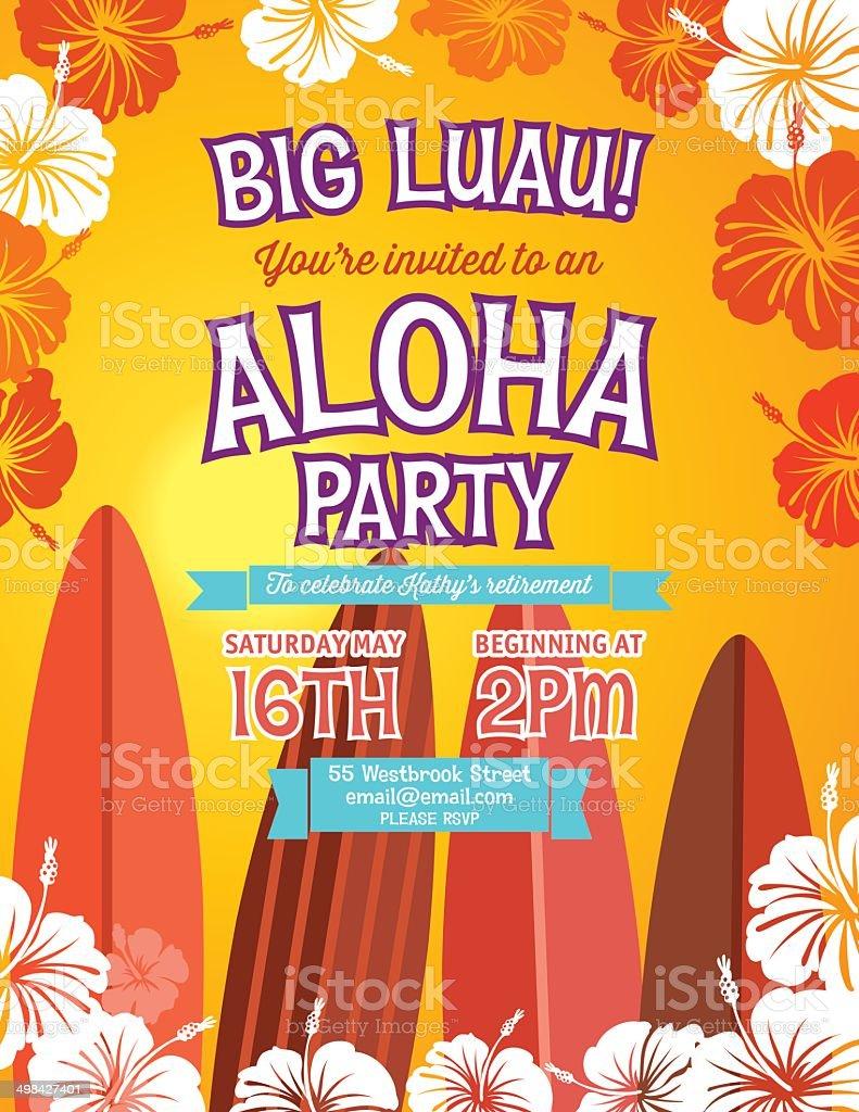 Aloha Hawaiian Party Invitation stock vector art 498427401 | iStock