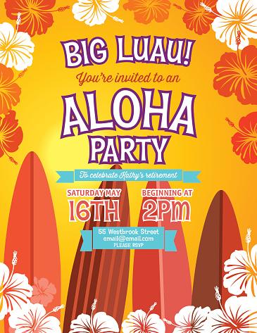 Aloha Hawaiian Party Invitation