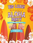 Aloha Hawaiian Luau Party vertical Invitation With Hibiscus Flowers.  Summer Beach Party Invitation With the hibiscus flowers done in orange and red forming a framed border vertical template on a white background. The green text is written in the middle with four partial surf boards underneath.