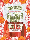 Aloha Hawaiian Luau Party Invitation With Hibiscus Flowers.  Summer Beach Party Invitation With the hibiscus flowers done in orange and red forming a framed border vertical template on a white background. The green text is written in the middle with four partial surf boards underneath.