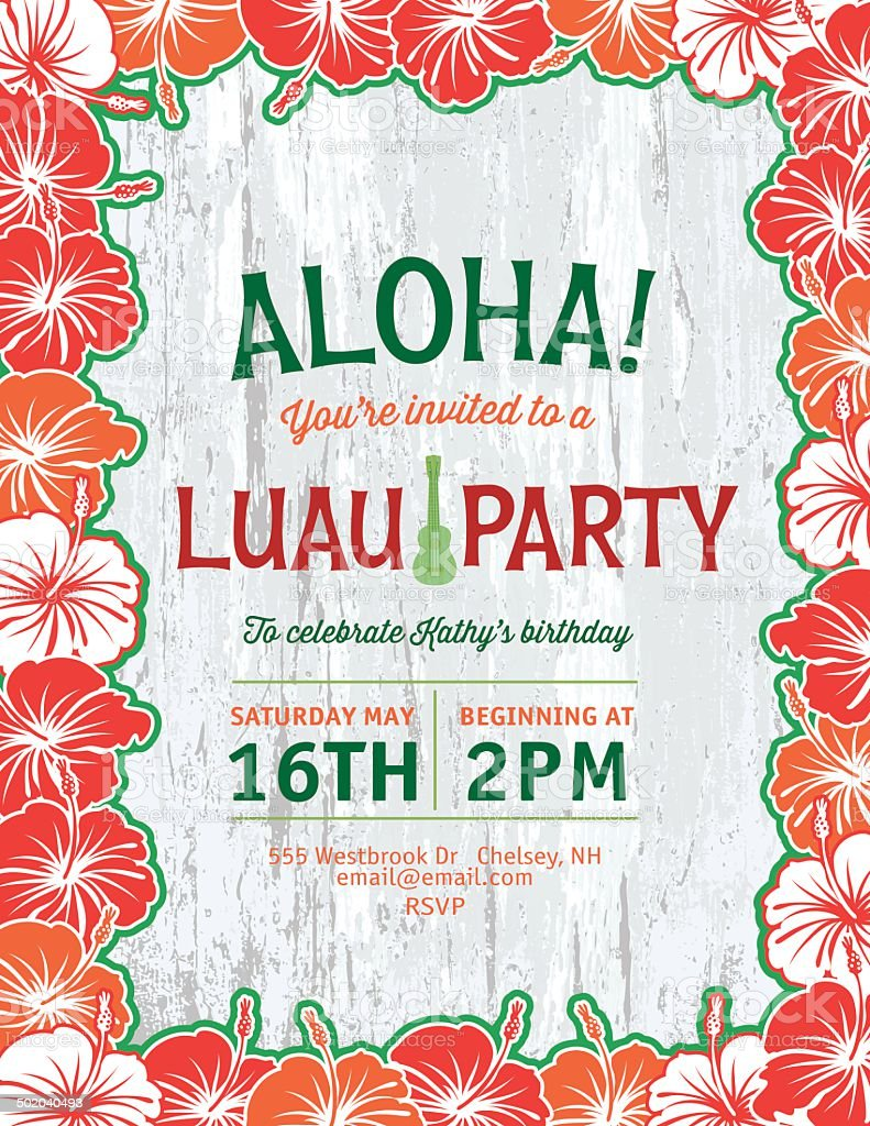 Aloha Hawaiian Party Invitation stock vector art 502040493 | iStock