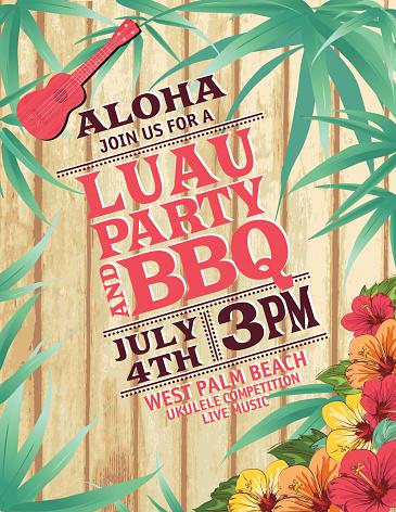 Aloha Hawaiian Party Invitation With Hibiscus And Ukulele