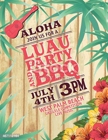 Aloha Hawaiian Party Invitation With Hibiscus And Ukulele. The background is aged wood with a border of bamboo leaves. There are hibiscus flowers in the lower right corner and a red ukulele at the top.