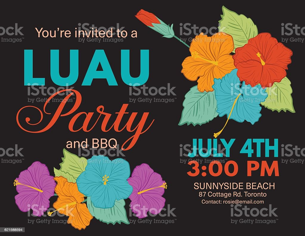 aloha hawaiian party invitation with hibiscus flowers and leaves の
