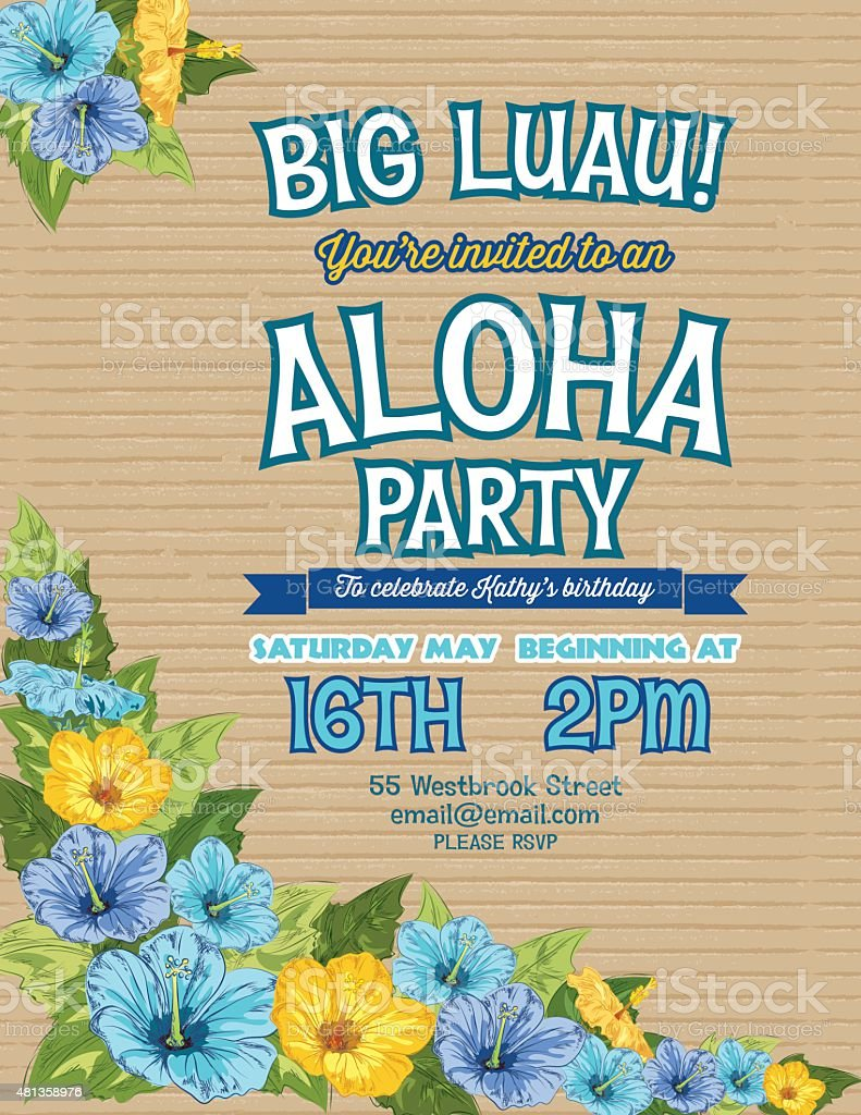 Aloha hawaiian party invitation with hibiscus flowers and palm aloha hawaiian party invitation with hibiscus flowers and palm leaves royalty free aloha hawaiian party izmirmasajfo