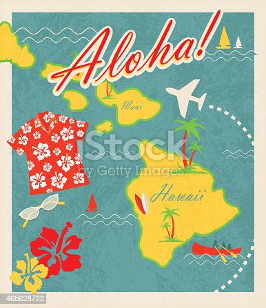 Retro Hawaiian Luau invitation design template. Includes sample text design. Includes maps of Hawaii islands including Maui. Cute travel and destination theme with Hawaiian shirt, sunglases, hibiscus, canoe, sailboat, palm trees and waves and airplane. Easy to edit with layers.