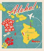 istock Aloha Retro Hawaiian Luau map design travel theme invitation design 465628722