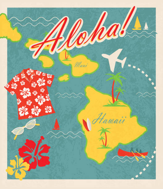 Aloha Retro Hawaiian Luau map design travel theme invitation design Retro Hawaiian Luau invitation design template. Includes sample text design. Includes maps of Hawaii islands including Maui. Cute travel and destination theme with Hawaiian shirt, sunglases, hibiscus, canoe, sailboat, palm trees and waves and airplane. Easy to edit with layers. big island hawaii islands stock illustrations