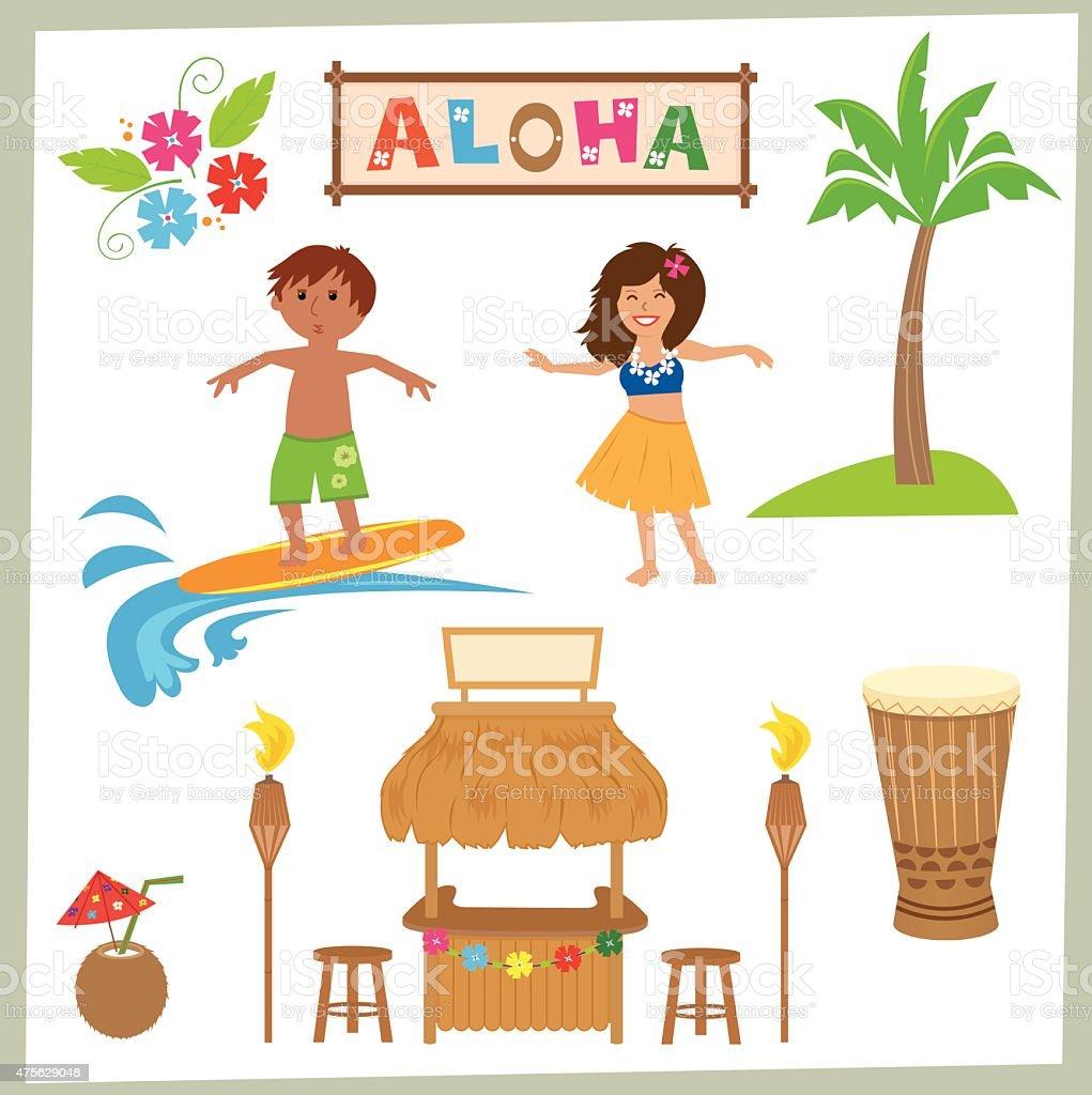 Aloha Set vector art illustration