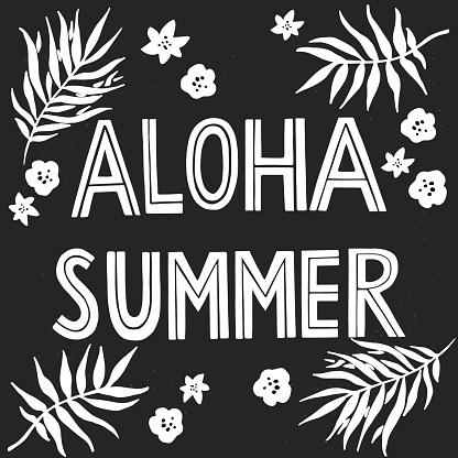 'Aloha Summer' hand lettering