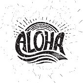 Aloha surfing lettering. Vector calligraphy illustration