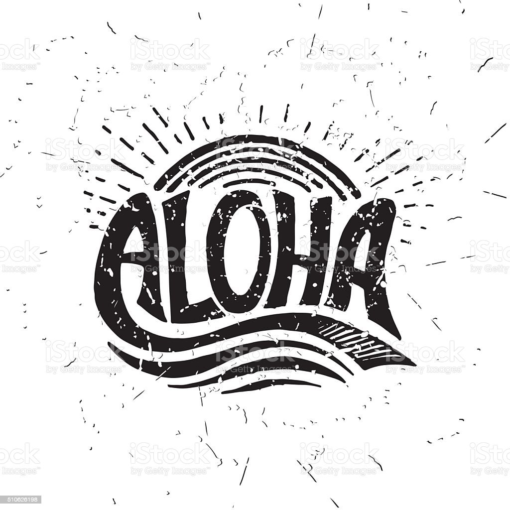 Aloha surfing lettering. Vector calligraphy illustration vector art illustration