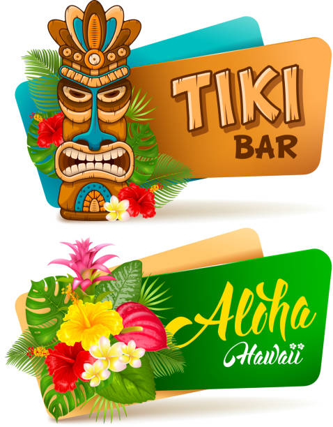 Aloha Tiki bar banners set Hot and exotic tropics. Banners set with tiki mask and tropical plants and flowers. Vector illustration. Isolated on white background. hawaiian culture stock illustrations