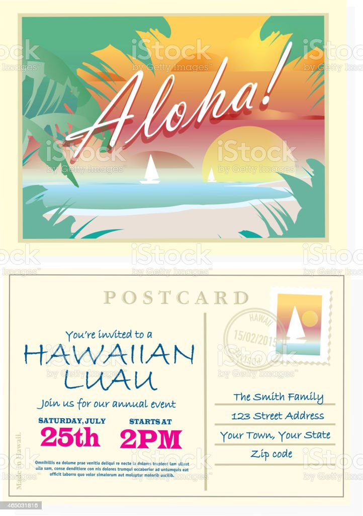 Aloha vintage postcard hawaiian luau invitation design template aloha vintage postcard hawaiian luau invitation design template royalty free aloha vintage postcard hawaiian luau stopboris Gallery