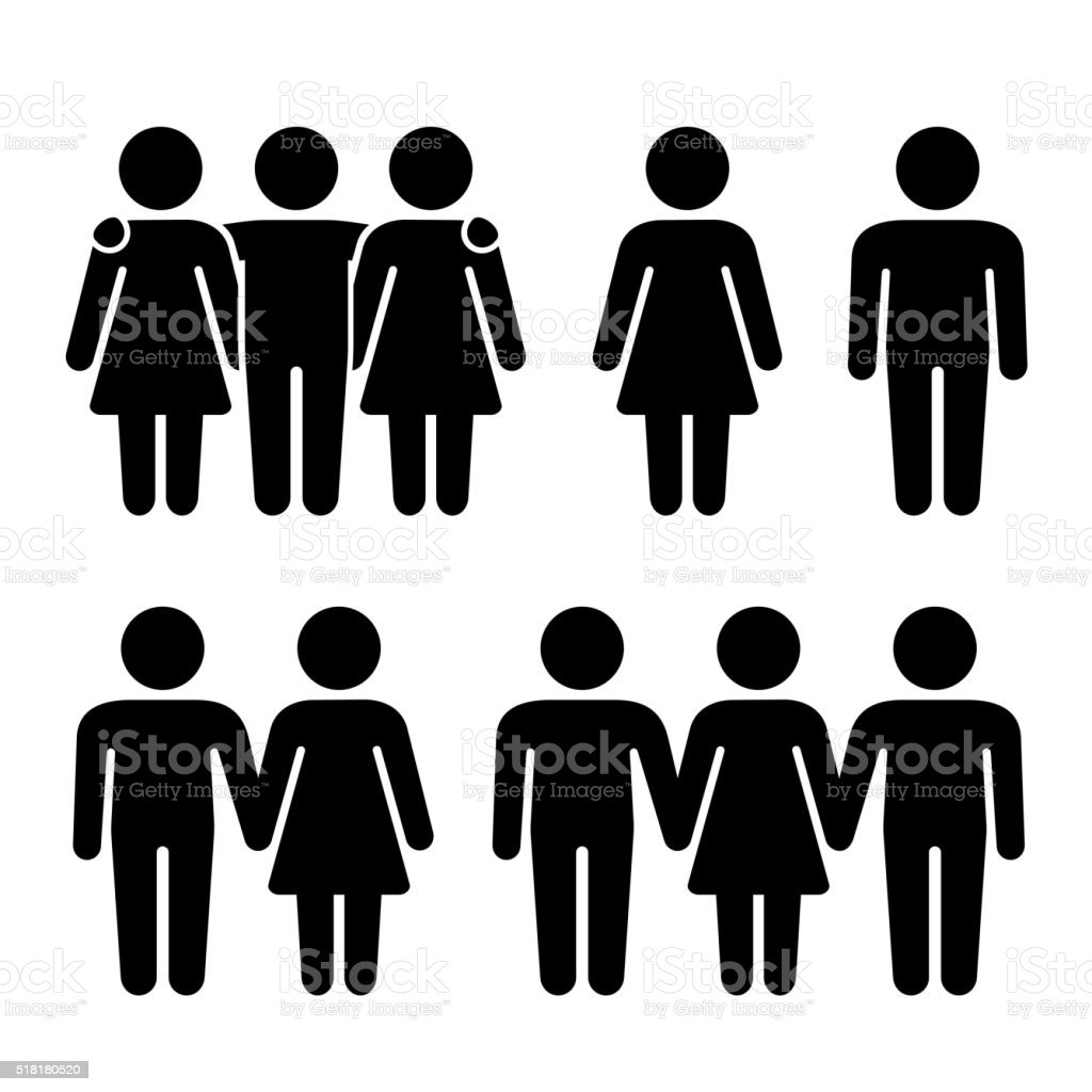 Alone, Couple and Threesome Human Icons Set. Sexual Relationships Combination vector art illustration