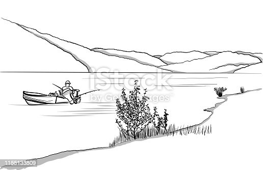 Peaceful scenery with a fishing boat on the lake and hills in the background. Vector illustration