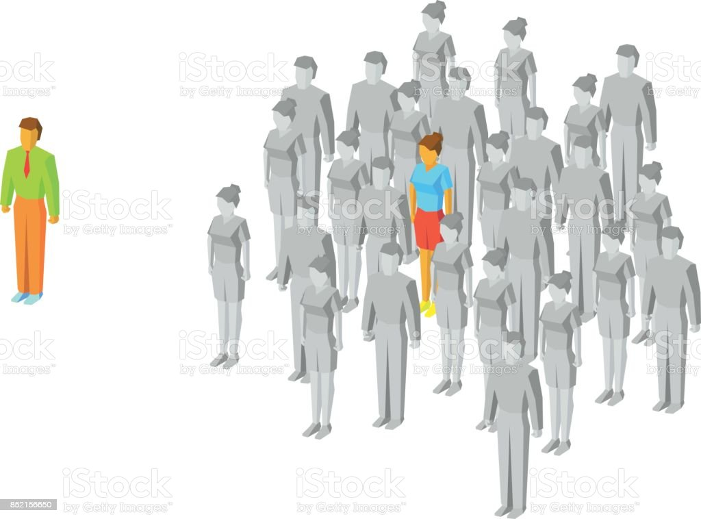 Alone in the crowd. One colored girl among gray people. vector art illustration