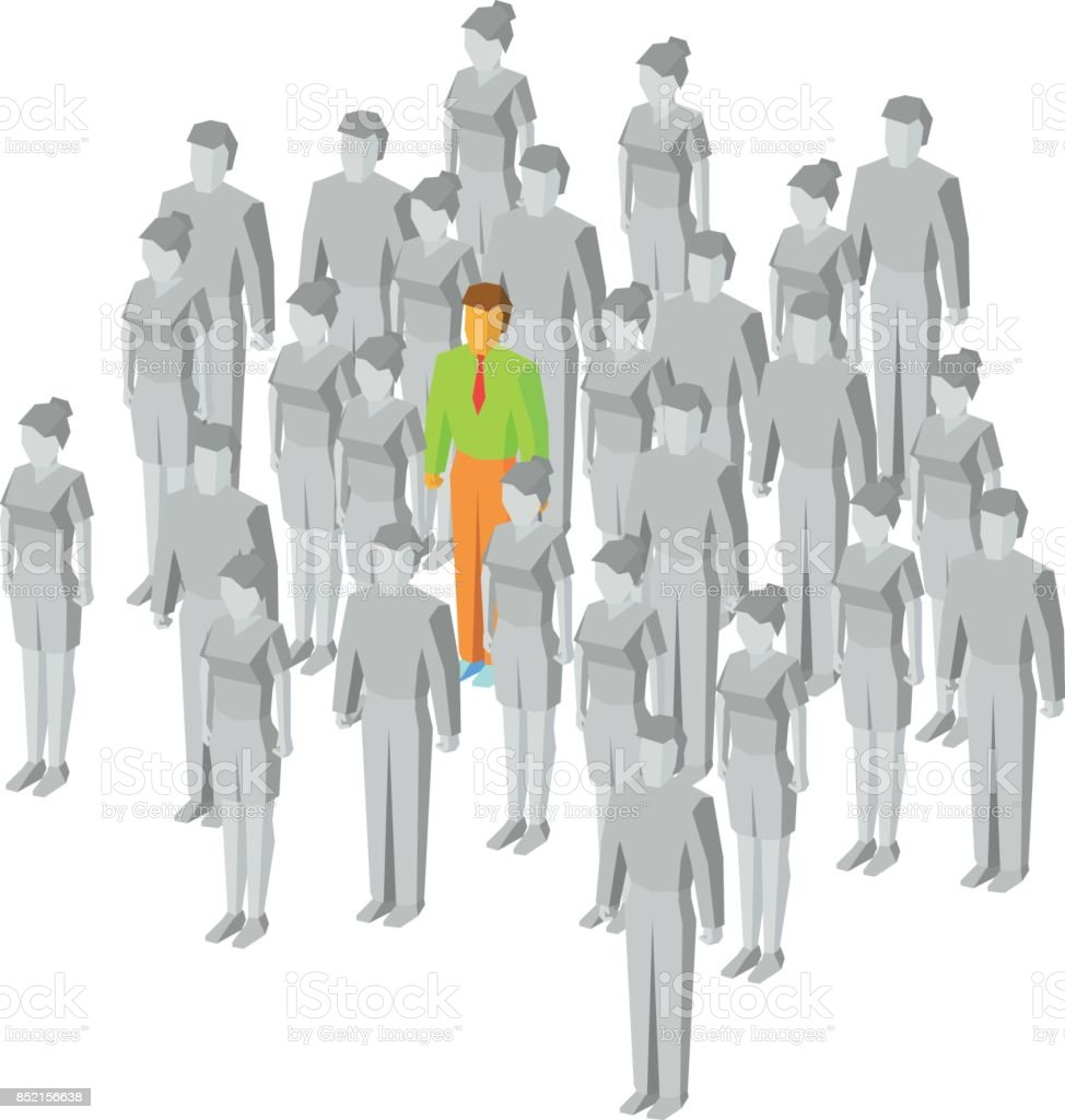 Alone in the crowd. One colored man among gray people vector art illustration