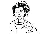 Pretty brunette woman in a retro style drinking a cup of tea. Vintage style girl enjoying being 'alone at last' with her tea and rest time. Original design pop art illustration in black and white.
