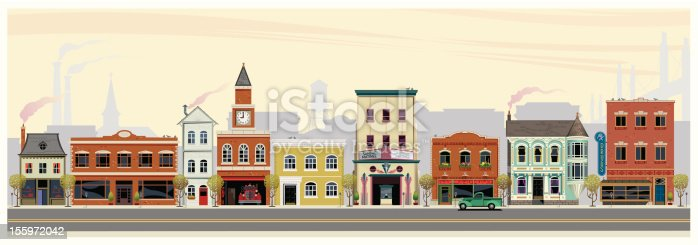 An illustrated depiction of shops, restaurants, stores and businesses along a main street in rural America. The scene in set in early fall with cool morning air, smoke stacks, church, water tower and suspended bridge in the background. In the foreground are (from left to right) a mansard roofed business, early american storefront, tall business-dwelling, firestation with clock tower, city hall, art deco movie theater, another storefront followed by a victorian restaurant and a drugstore.