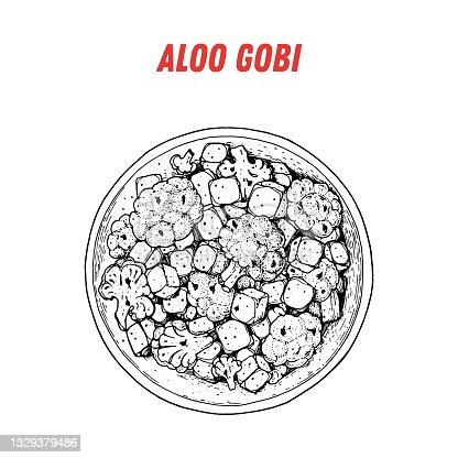 istock Aloo gobi sketch, Indian food. Hand drawn vector illustration. Sketch style. Top view. Vintage vector illustration. 1329379486