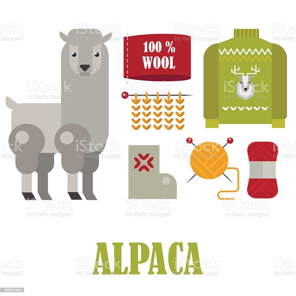 Alpaca and wool products, knitting objects and needles vector flat set. – Vektorgrafik