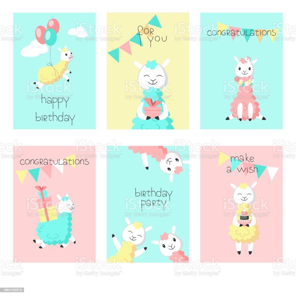 Alpaca Birthday Greeting Cards Vector Illustration Stock Vector Art