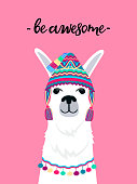 Alpaca in a hat with tassels. Fun quote be awesome. Childish print for nursery, poster, t-shirt
