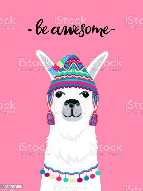 Alpaca in a hat with tassels fun quote be awesome childish print for vector id1092092598?b=1&k=6&m=1092092598&s=612x612&h=mvuxffwokuc3pafwbvzcznpso 2iilr jjoma8yqmdm=