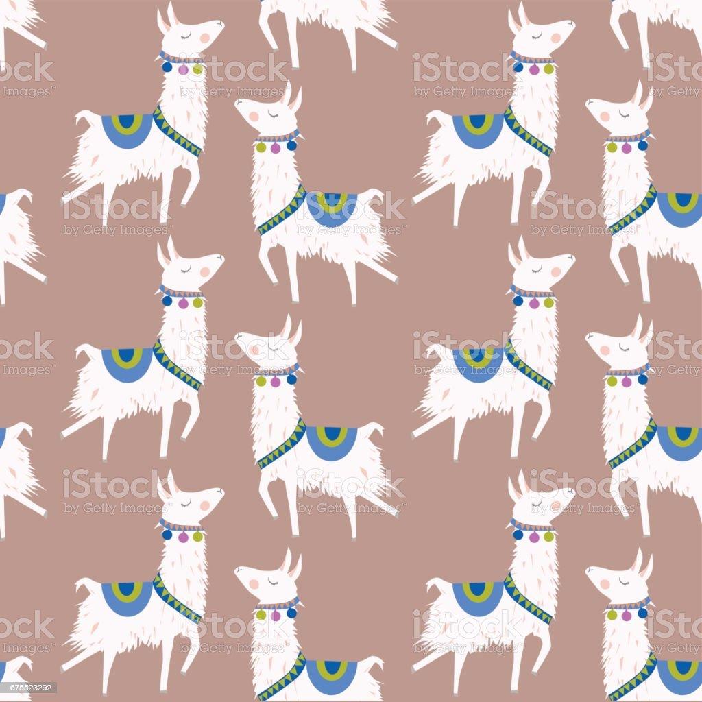 alpaca pattern vector art illustration