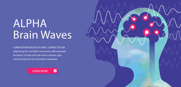 illustrazioni stock, clip art, cartoni animati e icone di tendenza di alpha brain waves web banner - elettrodo