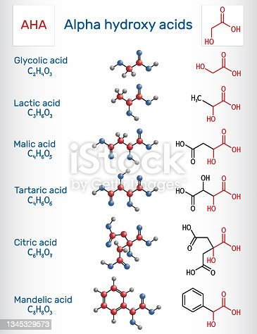 istock Alpha hydroxy acids, AHA. Glycolic C2H4O3, lactic C3H6O3, malic C4H6O5, tartaric C4H6O6, citric C6H8O7, mandelic acid C8H8O3 molecule. Structural chemical formula, molecule model 1345329573