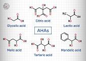istock Alpha hydroxy acids, AHA. Glycolic C2H4O3, lactic C3H6O3, malic C4H6O5, tartaric C4H6O6, citric C6H8O7, mandelic acid C8H8O3 molecule. Sheet of paper in a cage 1346230110