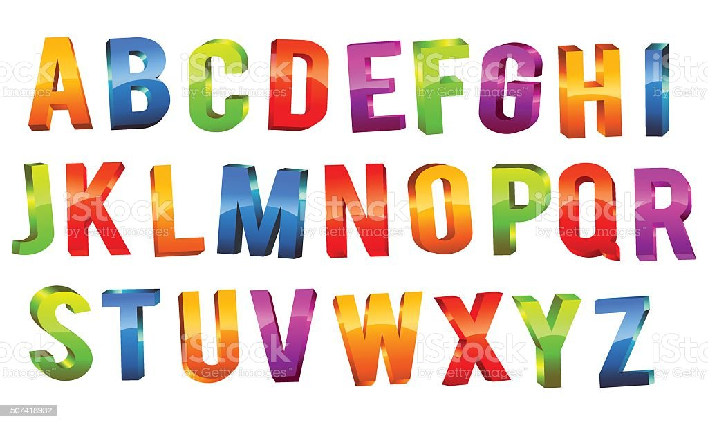 Alphabet 3D Text vector art illustration