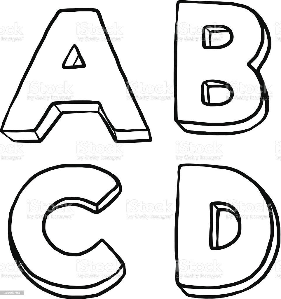 Lettre de lalphabet a b c et d texte dessin anim 3d - Lettre a decouper ...