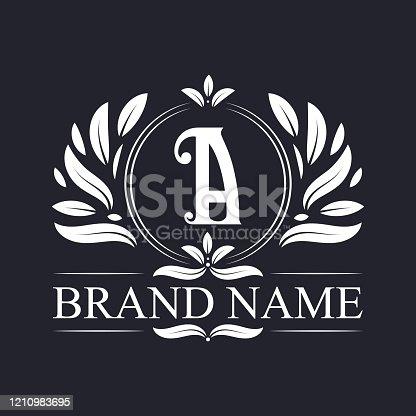 istock Alphabet A luxurious logo design template. 1210983695