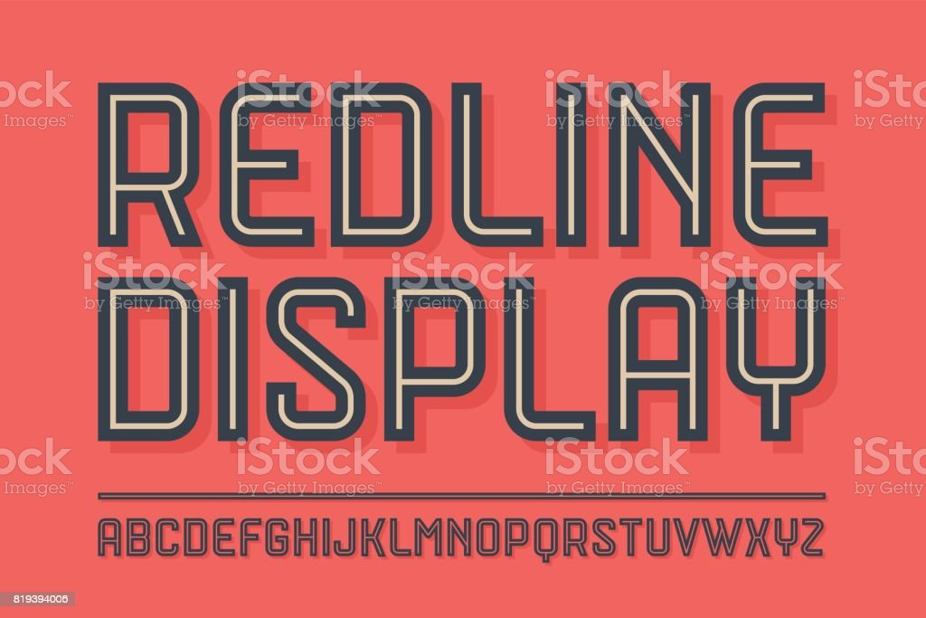Alphabet and font Red Line with shadow vector art illustration