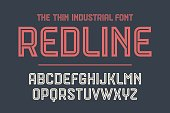 Alphabet and font Red Line with shadow