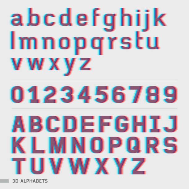 ilustrações, clipart, desenhos animados e ícones de 3 d alfabeto e números fonte estilo. - composição