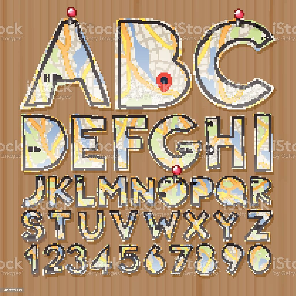 Alphabet And Numbers Paper Craft Design Cut Out By Scissors Stock