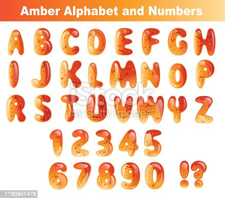 Vector AMBER Alphabet and Numbers