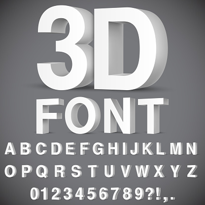 Full alphabet of 3d white letters and numbers