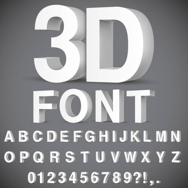 3D Alphabet and Numbers Full alphabet of 3d white letters and numbers three dimensional stock illustrations