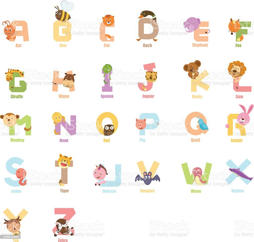 Alphabet animal a to z,vector – Vektorgrafik
