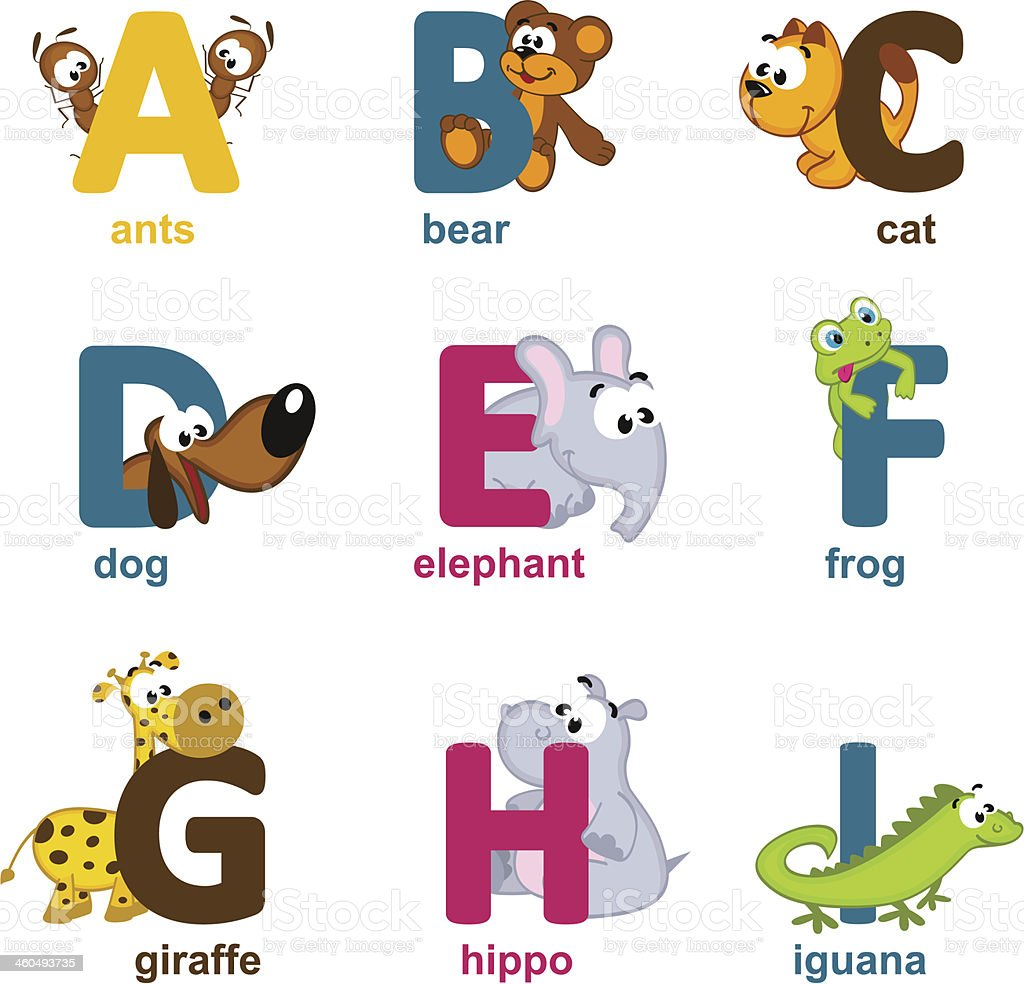 alphabet animals from A to I royalty-free stock vector art