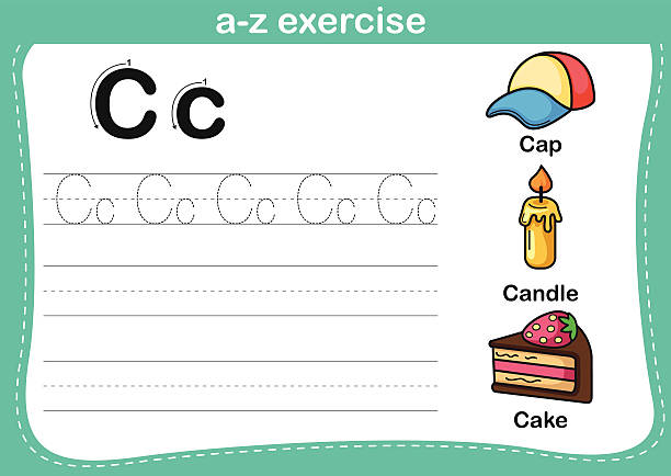 Alphabet a-z exercise with cartoon vocabulary illustration Alphabet a-z exercise with cartoon vocabulary illustration, vector cartoon of birthday cake outline stock illustrations