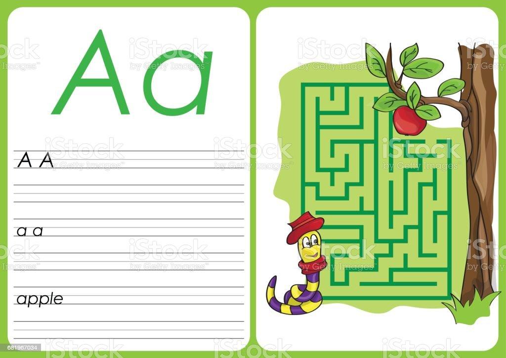 Alfabeto A-Z - puzzle planilha - um - apple - ilustração de arte em vetor